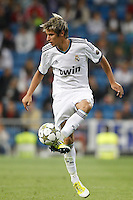 26.09.2012 SPAIN - Real Madrid and Millonarios played  for the 34th Santiago Bernabéu Trophy. The score at was 8-0 with three goals from Kaká, Morata (2), Callejon (2) and Benzema (1). The picture show Fabio Alexandre Coentrao (Potuguese defender of  Real Madrid)