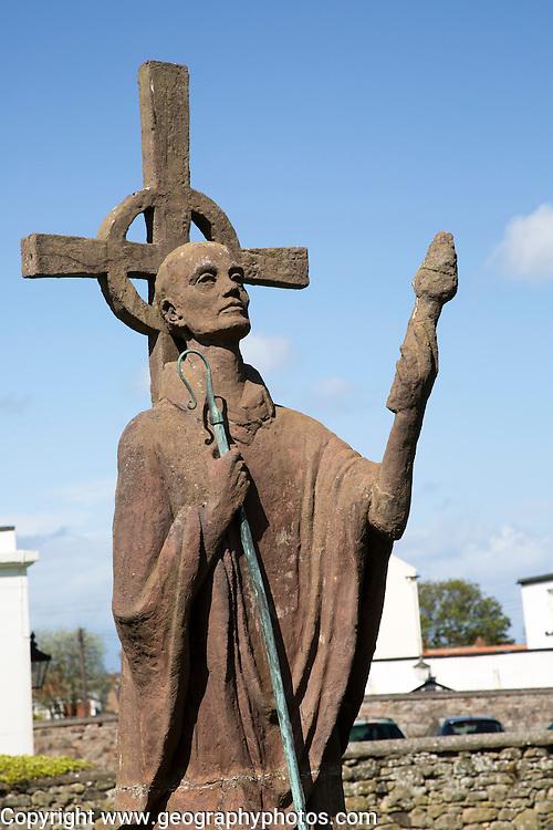 Statue of Saint Aidan, Holy Island, Lindisfarne, Northumberland, England, UK