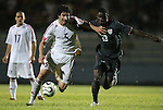 06 September 2008: Jorge Luis Clavelo (CUB) (5) fights past Maurice Edu (USA) (13). The United States Men's National Team defeated the Cuba Men's National Team 1-0 at Estadio Nacional de Futbol Pedro Marrero in Havana, Cuba in a CONCACAF semifinal round FIFA 2010 South Africa World Cup Qualifier.