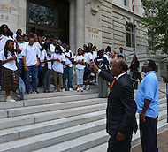 Washington, DC - July 10, 2012: D.C. Councilmember Marion Barry greets students after talking to taxicab drivers outside of the Wilson Building, July 10, 2012.  (Photo by Don Baxter/Media Images International)