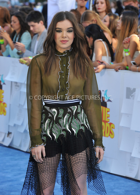 WWW.ACEPIXS.COM<br /> <br /> April 12 2015, LA<br /> <br /> Hailee Steinfeld arriving at the 2015 MTV Movie Awards at the Nokia Theatre L.A. Live on April 12, 2015 in Los Angeles, California.<br /> <br /> By Line: Peter West/ACE Pictures<br /> <br /> <br /> ACE Pictures, Inc.<br /> tel: 646 769 0430<br /> Email: info@acepixs.com<br /> www.acepixs.com