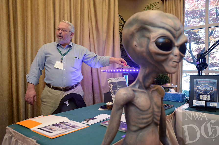 NWA Democrat-Gazette/BEN GOFF @NWABENGOFF<br /> Tom Jensen of T-Toys &amp; UFOS from Barnesville, Minn. talks about one of his scratch-built flying saucer models on Saturday April 9, 2016 during the 29th annual Ozark Mountain UFO Conference at the Best Western Inn of the Ozarks in Eureka Springs.