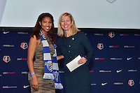 Los Angeles, CA - Thursday January 12, 2017: Margaret Purce, NWSL Managing Director of Operations Amanda Duffy during the 2017 NWSL College Draft at JW Marriott Hotel.