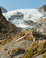 View of main icefall on Franz Josef Glacier, Westland Tai Poutini National Park, UNESCO World Heritage Area, West Coast, South Westland, New Zealand, NZ