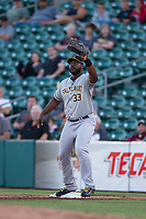 Salt Lake Bees first baseman Chris Carter (33) prepares to catch a ball during a Pacific Coast League game against the Fresno Grizzlies at Chukchansi Park on May 14, 2018 in Fresno, California. Fresno defeated Salt Lake 4-3. (Zachary Lucy/Four Seam Images)