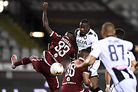Nicolas N'Koulou of Torino FC and Stefano Okaka of Udinese Calcio compete for the ball during the Serie A football match between Torino FC and Udinese at Olimpico stadium in Torino ( Italy ), June 23th, 2020. Play resumes behind closed doors following the outbreak of the coronavirus disease. <br /> Photo Image Sport / Insidefoto