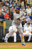 Los Angeles Dodgers outfielder Carl Crawford #25 during a game against the Milwaukee Brewers at Miller Park on May 22, 2013 in Milwaukee, Wisconsin.  Los Angeles defeated Milwaukee 9-2.  (Mike Janes/Four Seam Images)
