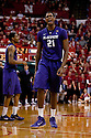 23 February 2011: Jordan Henriquez-Roberts #21 of the Kansas State Wildcats upset for a foul called on him during the second half against the Nebraska Cornhuskers at the Devaney Sports Center in Lincoln, Nebraska. Kansas State defeated Nebraska 61 to 57.
