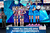18th March 2018, Arena Birmingham, Birmingham, England; Yonex All England Open Badminton Championships; Kamilla Rytter Juhl (DEN) and Christinna Pedersen (DEN) display their trophies as winners of the womens doubles  final
