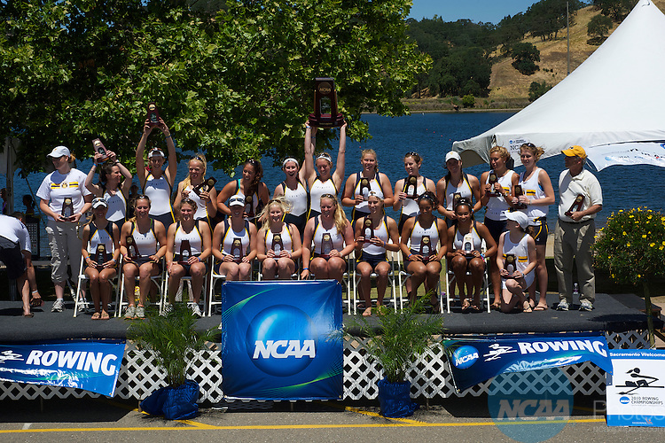 29 May 2010: Trinity College celebrates their third place finish during the Division III Women's Rowing Championship held at the Sacramento State Aquatic Center in Gold River, CA. Ed Broberg/NCAA Photos