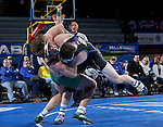 BROOKINGS, SD - FEBRUARY 4:  Nate Rotert from South Dakota State takes down Tanner Orndoff from Utah Valley during their 197 pound match at Frost Arena Saturday night. (Photo by Dave Eggen/Inertia)