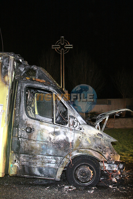 The North Eastern Health Board ambulance that went on fire on its way to Our Lady Of Lourdes Hospital in Drogheda, Two Units of the Drogheda Fire service attended the scene, The Two paramedicas in the Ambulance escaped without injury..Photo: Fran Caffrey/www.newsfile.ie...