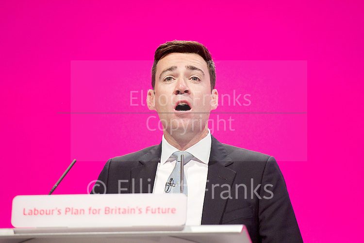 Labour Party Conference<br /> at Manchester Central, Manchester, Great Britain <br /> 24th September 2014 <br /> <br /> Andy Burnham MP<br /> Shadow Health Secretary <br /> speech <br /> Health &amp; Care debate <br /> <br /> <br /> Photograph by Elliott Franks <br /> Image licensed to Elliott Franks Photography Services