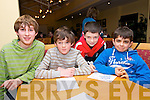 Scoil Chaitlín Naofa, Cill Mhic a'Domhnaigh, pupils Rioghan Herkommer, Jake Sweeney, Conor Ó Cinnéide and Steven Ó Conchúir at the Dingle Credit Union Kids table quiz at Benners Hotel, Dingle, on Monday evening.