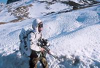 - winter training of Alpini mountain troops at Piccolo San Bernardo pass (Aosta valley)<br /> <br /> - addestramento invernale degli Alpini al passo del piccolo San Bernardo (Val d'Aosta)