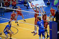GRONINGEN - Volleybal, Abiant Lycurgus - Dynamo Apeldoorn, Alfa College , Eredivisie , seizoen 2017-2018, 26-11-2017 smash Lycurgus speler Stijn van Schie
