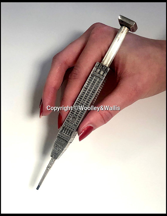 BNPS.co.uk (01202 558833)Pic:  Woolley&Wallis/BNPS<br /> <br /> A rare American novelty silver pencil, modelled as The Metropolitan Life Tower in New York, estimated at £1,500.<br /> <br /> A remarkable collection of vintage pencils has emerged for sale for £130,000.<br /> <br /> The collection, which boasts 454 lots, features elaborate gold and silver examples dating from the 19th and early 20th century.<br /> <br /> They depict famous landmarks, sporting equipment, animals, bottles of champagne and love tokens, with one even doubling as a fan.<br /> <br /> In a bygone age, women would take pencils with them on nights out so they could jot down the names of potential suitors on their dancing cards.