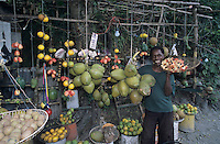 Native Jamaican selling Ackee (National Fruit) at Street Market, Hope Bay, Jamaica, Caribbean
