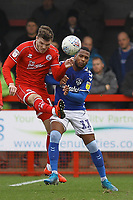 Jordan Tunnicliffe of Crawley Town and Gevaro Nepomuceno of Oldham Athletic during Crawley Town vs Oldham Athletic, Sky Bet EFL League 2 Football at Broadfield Stadium on 7th March 2020
