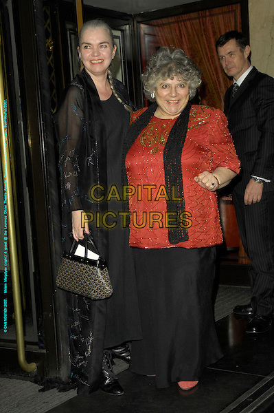 MIRIAM MARGOYLES & GUEST.Arrivals - Laurence Olivier Awards at the Grosvenor Hotel, Park Lane, London, UK..February 18th, 2007.full length black dress sheer red top scarf trousers.CAP/CAN.©Can Nguyen/Capital Pictures