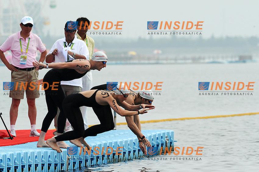 Germany Bronze Medal.Isabelle HAERLE, Jan WOLFGARTEN and Thomas LURZ.Team Open Water 5 Km.Shanghai 21/7/2011 .14th FINA World Championships.Foto Andrea Staccioli Insidefoto
