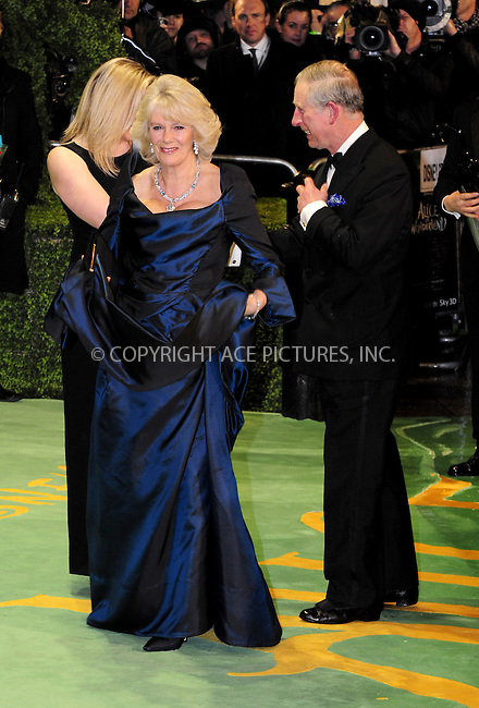 "WWW.ACEPIXS.COM . . . . .  ..... . . . . US SALES ONLY . . . . .....February 25 2010, New York City....Camilla Parker Bowles and Prince Charles at the UK premiere of ""Alice in Wonderland"" on February 25 2010 in London......Please byline: FAMOUS-ACE PICTURES... . . . .  ....Ace Pictures, Inc:  ..tel: (212) 243 8787 or (646) 769 0430..e-mail: info@acepixs.com..web: http://www.acepixs.com"