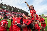 Tonga celebrate. Kiwis v Tonga, Rugby League World Cup, FMG Stadium, Hamilton, New Zealand. Saturday, 11 November, 2017. Copyright photo: John Cowpland / www.photosport.nz MANDATORY CREDIT/BYLINE : SWpix.com/PhotosportNZ