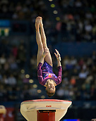 22nd March 2018, Arena Birmingham, Birmingham, England; Gymnastics World Cup, day two, womens competition; Jieyu Liu (CHN) on the Vault during her competition routine