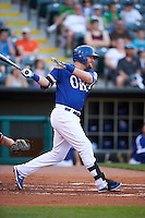 Oklahoma City Dodgers outfielder Andy Wilkins (38) at bat during a game against the Fresno Grizzles on June 1, 2015 at Chickasaw Bricktown Ballpark in Oklahoma City, Oklahoma.  Fresno defeated Oklahoma City 14-1.  (Mike Janes/Four Seam Images)