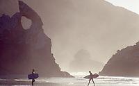 Surfers at Long Beach, Dunedin