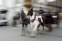 Poland, Krakow, Horse-drawn carriage, motion blur