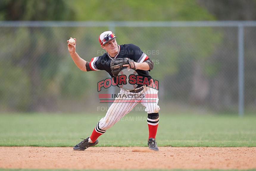 Edgewood Eagles shortstop Ryan Fields (9) during a game against the Babson Beavers on March 18, 2019 at Lee County Player Development Complex in Fort Myers, Florida.  Babson defeated Edgewood 23-7.  (Mike Janes/Four Seam Images)