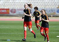 20180228 - LARNACA , CYPRUS :  Belgian Nicky Van Den Abbeele (left) and Davina Philtjens (r) pictured during warming up of the women's soccer game between The Belgian Red Flames and the Czech Republic , on wednesday 28 February 2018 at GSZ Stadium in Larnaca , Cyprus . This is the first game in group B for Belgium during the Cyprus Womens Cup , a prestigious women soccer tournament as a preparation on the World Cup 2019 qualification duels. PHOTO SPORTPIX.BE | DAVID CATRY