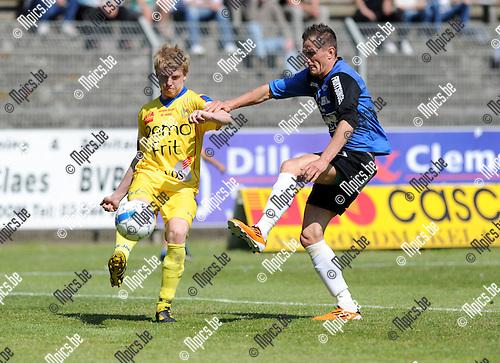 2011-05-01 / Voetbal / seizoen 2010-2011 / Rupel-Boom - Waasland-Beveren / Laurens Paulussen met Nick Van der Westerlaken (r, R-B)..Foto: Mpics