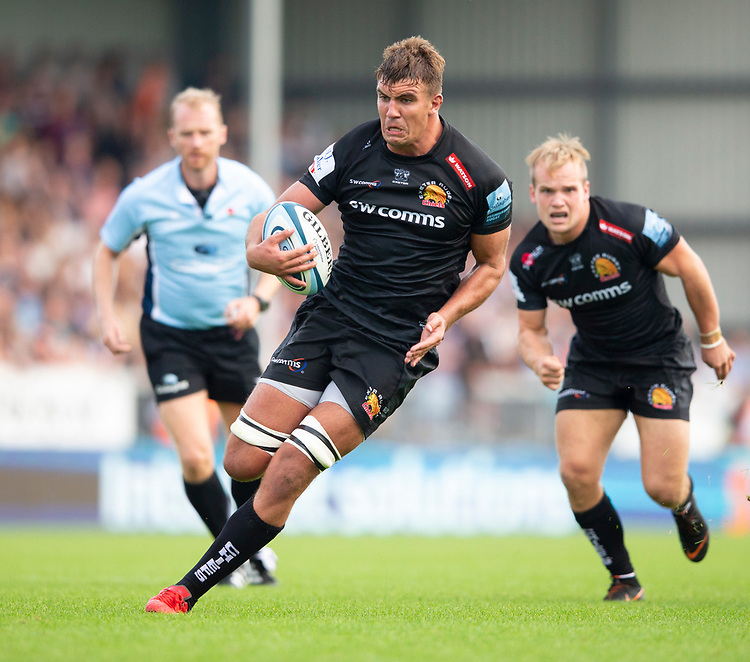 Exeter Chiefs' Sam Skinner in action during todays match<br /> <br /> Photographer Bob Bradford/CameraSport<br /> <br /> Gallagher Premiership - Exeter Chiefs v Leicester Tigers - Saturday September 1st 2018 - Sandy Park - Exeter <br /> <br /> World Copyright © 2018 CameraSport. All rights reserved. 43 Linden Ave. Countesthorpe. Leicester. England. LE8 5PG - Tel: +44 (0) 116 277 4147 - admin@camerasport.com - www.camerasport.com