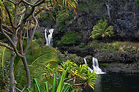 Beautiful tropical scenery and waterfalls at the seven pools in Ohe'o Gulch in HALEAKALA NATIONAL PARK on Maui in Hawaii USA
