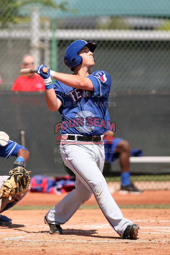Chris McGuinness of the Texas Rangers plays in a minor league spring training game against the Kansas City Royals at the Rangers minor league complex, on March 22, 2011  in Surprise, Arizona. .Photo by:  Bill Mitchell/Four Seam Images.