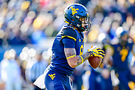 Morgantown, WV - NOV 10, 2018: West Virginia Mountaineers wide receiver Marcus Simms (8) moves the chains with a 10 yard gain during game between West Virginia and TCU at Mountaineer Field at Milan Puskar Stadium Morgantown, West Virginia. (Photo by Phil Peters/Media Images International)