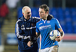 St Johnstone v Hearts.....18.01.14   SPFL<br /> Stevie May with the hat-trick ball is consoled by Billy Brown<br /> Picture by Graeme Hart.<br /> Copyright Perthshire Picture Agency<br /> Tel: 01738 623350  Mobile: 07990 594431