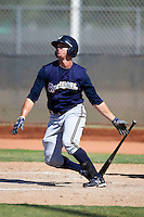 Milwaukee Brewers minor league outfielder Mitch Haniger #24 at bat during an instructional league game against the Cincinnati Reds at Maryvale Baseball Park on October 3, 2012 in Phoenix, Arizona.  (Mike Janes/Four Seam Images)