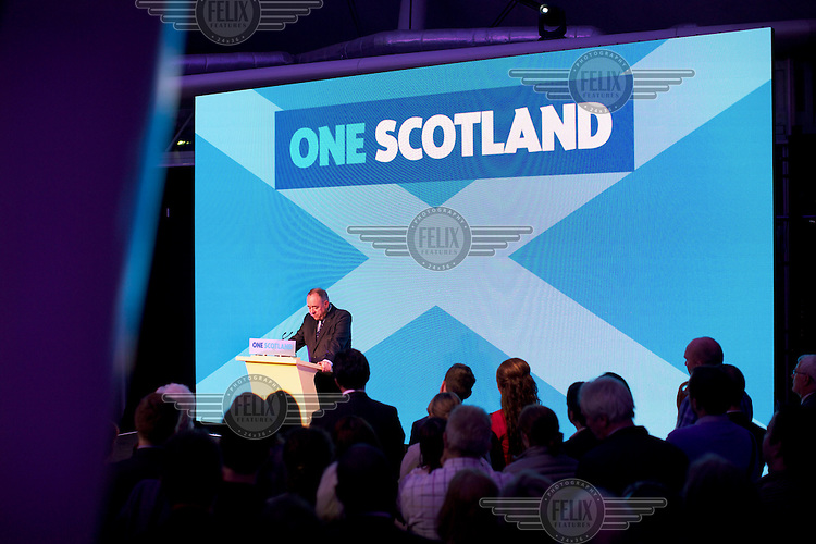 First Minister of Scotland Alex Salmond speaking at Our Dynamic Earth, a science centre in Edinburgh, to supporters of the 'Yes' campaign for Scottish independence to concede defeat for their bid for succession.