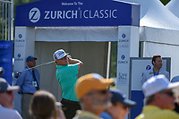 Charley Hoffman (USA) watches his tee shot on 1 during Round 3 of the Zurich Classic of New Orl, TPC Louisiana, Avondale, Louisiana, USA. 4/28/2018.<br /> Picture: Golffile | Ken Murray<br /> <br /> <br /> All photo usage must carry mandatory copyright credit (&copy; Golffile | Ken Murray)
