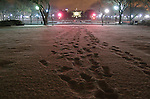 Footprints in the snow appear to lead to the White House.