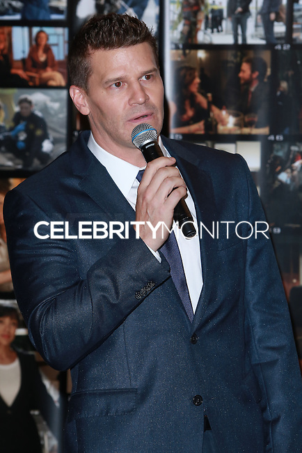 CENTURY CITY, CA, USA - NOVEMBER 14: David Boreanaz poses at FOX's 'Bones' 200th Episode Celebration With The Cast And Producers held at the Fox Studio Lot on November 14, 2014 in Century City, California, United States. (Photo by David Acosta/Celebrity Monitor)