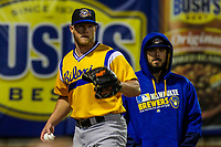 Biloxi Shuckers pitcher Matt Ramsey (32) and pitcher Nick Ramirez (33) during a Southern League game against the Tennessee Smokies on May 25, 2017 at Smokies Stadium in Kodak, Tennessee.  Tennessee defeated Biloxi 10-4. (Brad Krause/Krause Sports Photography)