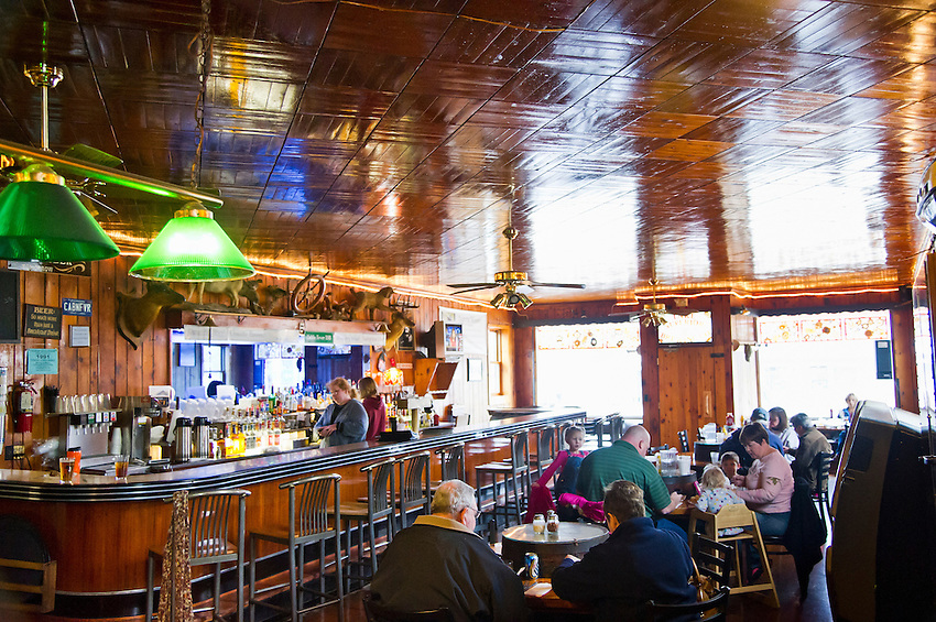 Interior of the Lake Superior Brewing Company and Dunes Saloon in Grand Marais, Michigan.