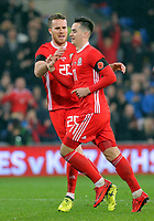 Tom Lawrence of Wales (R) celebrates his goal with team mate Marley Watkins (L) during the international friendly soccer match between Wales and Panama at Cardiff City Stadium, Cardiff, Wales, UK. Tuesday 14 November 2017.