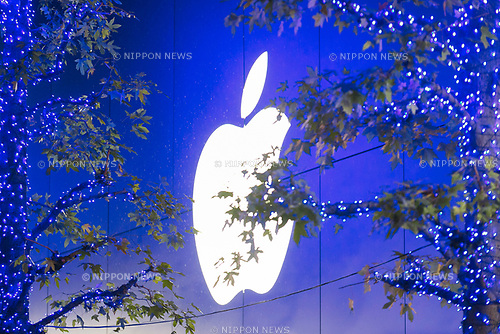 A logo of Apple Store is illuminated with the Blue Grotto Shibuya illuminations on November 22, 2017, Tokyo, Japan. Thousands of blue LED lights turn the streets from Yoyogi Park to Koen Dori into a 800-meter cave. The event runs til December 31, 2017. (Photo by Rodrigo Reyes Marin/AFLO)
