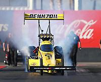 Feb 1, 2018; Chandler, AZ, USA; NHRA top fuel driver Leah Pritchett during Nitro Spring Training pre season testing at Wild Horse Pass Motorsports Park. Mandatory Credit: Mark J. Rebilas-USA TODAY Sports