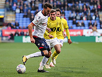 Bolton Wanderers' Will Buckley vies for possession with Blackburn Rovers' Joe Rothwell<br /> <br /> Photographer Andrew Kearns/CameraSport<br /> <br /> The EFL Sky Bet Championship - Bolton Wanderers v Blackburn Rovers - Saturday 6th October 2018 - University of Bolton Stadium - Bolton<br /> <br /> World Copyright &copy; 2018 CameraSport. All rights reserved. 43 Linden Ave. Countesthorpe. Leicester. England. LE8 5PG - Tel: +44 (0) 116 277 4147 - admin@camerasport.com - www.camerasport.com